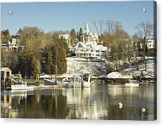 Rockport In Winter On The Coast Of Maine Acrylic Print by Keith Webber Jr