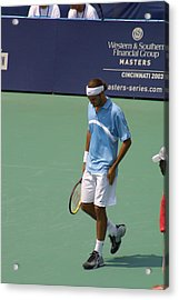 Roger Federer After 1st Slam Acrylic Print by Rexford L Powell