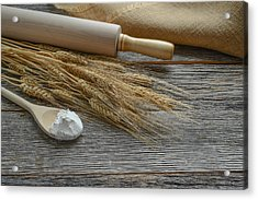 Rolling Pin With Wheat And Spoon With Flour Acrylic Print