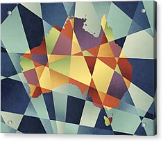 Australia Geometric Retro Map Acrylic Print by Michael Tompsett