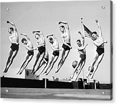 Rooftop Dancers In New York Acrylic Print by Underwood Archives