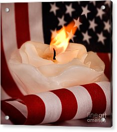 Rose Candle On American Flag Acrylic Print by Iris Richardson