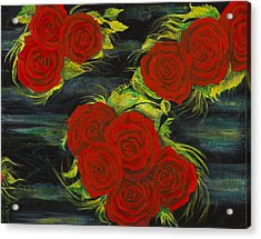 Acrylic Print featuring the painting Roses Floating by Cathy Long
