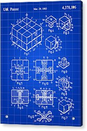 Rubik's Cube Patent 1983 - Blue Acrylic Print by Stephen Younts
