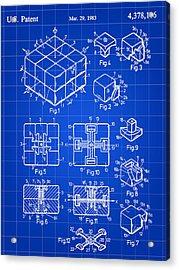 Rubik's Cube Patent 1983 - Blue Acrylic Print