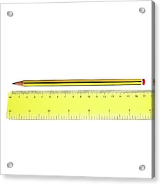 Ruler And Pencil Acrylic Print by Science Photo Library
