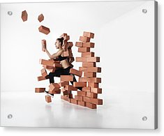 Runner Shattering Barrier Acrylic Print by Henrik Sorensen
