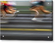 Runners Blurred Acrylic Print by Jim Corwin