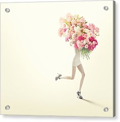 Running Women With Giant Bunch Of Flowers Acrylic Print by Vizerskaya