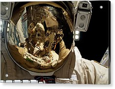Russian Cosmonaut During A Spacewalk Acrylic Print by Nasa