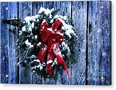 Rustic Christmas Wreath Acrylic Print by Stephanie Frey