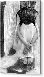 Sad Angel Woman Acrylic Print by Jill Battaglia