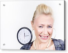 Sad Female Business Person About To Cry In Office Acrylic Print by Jorgo Photography - Wall Art Gallery