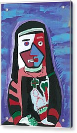 Acrylic Print featuring the painting Sad Nun by Don Koester