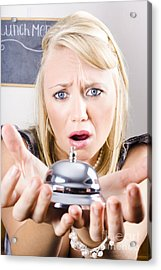Sad Woman Holding Bell Of Bud Customer Service Acrylic Print by Jorgo Photography - Wall Art Gallery