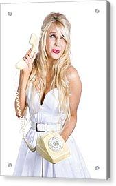 Sad Woman With Telephone Acrylic Print by Jorgo Photography - Wall Art Gallery