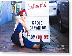 Sadie The Cleaning Lady Acrylic Print by Jorgo Photography - Wall Art Gallery