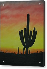 Saguaro Sunset Acrylic Print by Aaron Thomas