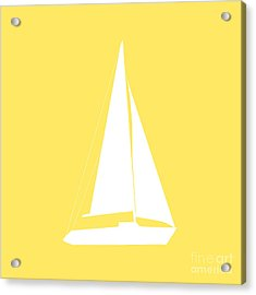 Sailboat In Yellow And White Acrylic Print