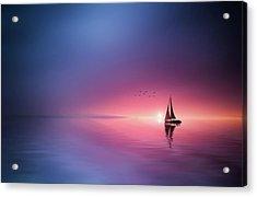 Sailing Across The Lake Toward The Sunset Acrylic Print