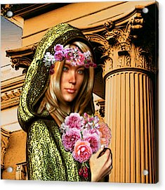 Acrylic Print featuring the painting Saint Dorothy Of Caesarea by Suzanne Silvir