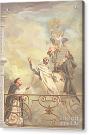 Saints Dominic Benedict And Francis Of Assisi II Acrylic Print by John Alan  Warford