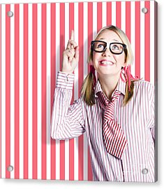 Salesgirl At Point Of Sale Display Stand Acrylic Print