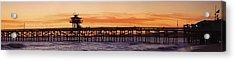 San Clemente Municipal Pier In Sunset Acrylic Print by Richard Cummins