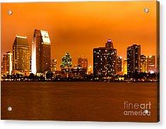San Diego Skyline At Night Acrylic Print