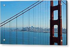 San Francisco Through Golden Gate Bridge Acrylic Print by Twenty Two North Photography
