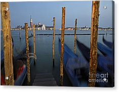 San Giorgio Maggiore Church And Gondolas At Dusk Acrylic Print by Sami Sarkis