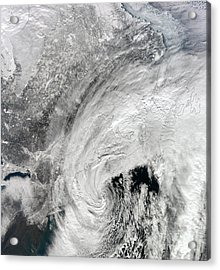 Satellite View Of A Large Noreaster Acrylic Print by Stocktrek Images