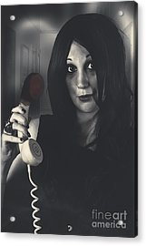 Scared Woman Making An Emergency Telephone Call Acrylic Print by Jorgo Photography - Wall Art Gallery