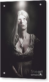 Scared Woman Trapped Down In A Dark Dungeon Acrylic Print