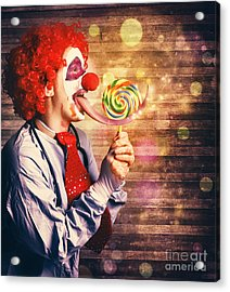 Scary Circus Clown At Horror Birthday Party Acrylic Print by Jorgo Photography - Wall Art Gallery