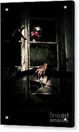 Scary Clown Clawing Window Acrylic Print by Jorgo Photography - Wall Art Gallery