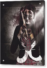 Scary Zombie School Student Holding Monster Pencil Acrylic Print by Jorgo Photography - Wall Art Gallery