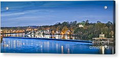 Schuylkill River  Boathouse Row Lit At Night  Acrylic Print