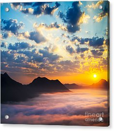 Sea Of Clouds On Sunrise With Ray Lighting Acrylic Print by Setsiri Silapasuwanchai