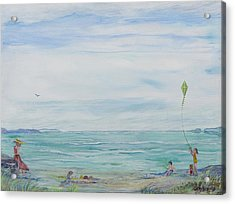Acrylic Print featuring the painting Seabreeze Beach by Cathy Long