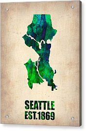 Seattle Watercolor Map Acrylic Print by Naxart Studio