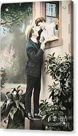 Secret Romance. Vintage Postcard 1907 Acrylic Print by Patricia Hofmeester