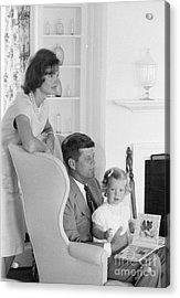 Senator John F. Kennedy With Jacqueline And Caroline Acrylic Print