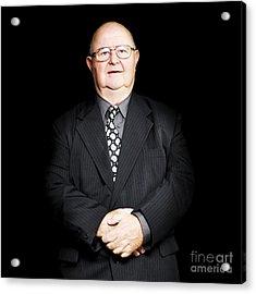 Senior Business Man Isolated On Black Background Acrylic Print
