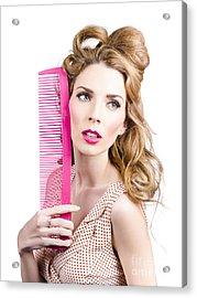 Sensual Pin Up Woman With Elegant Hair Style Acrylic Print