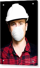 Serious Young Male Artisan Wearing Protective Mask Acrylic Print by Jorgo Photography - Wall Art Gallery