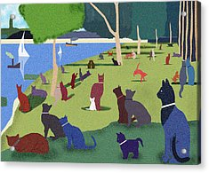 Seurat's Cats Acrylic Print by Clare Higgins