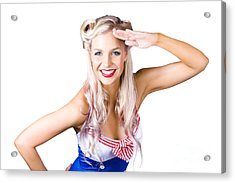 Sexy Pin-up Woman In Sailor Outfit Acrylic Print