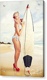 Sexy Sixties Pinup Surfer Girl At Vintage Beach Acrylic Print