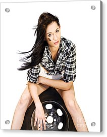 Sexy Woman Sitting On Car Tyre Acrylic Print by Jorgo Photography - Wall Art Gallery